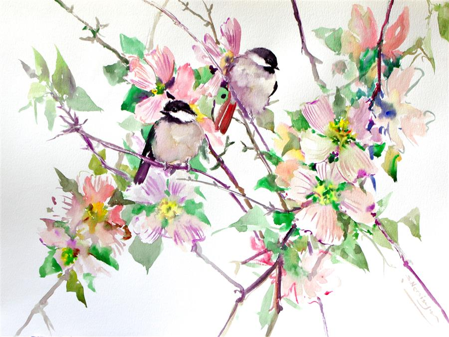 Discover Original Art by Suren Nersisyan | Dogwood Flowers and Chickadees watercolor painting | Art for Sale Online at UGallery