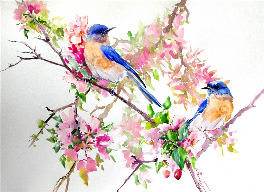 Discover Original Art by Suren Nersisyan | Bluebirds in the Spring watercolor painting | Art for Sale Online at UGallery