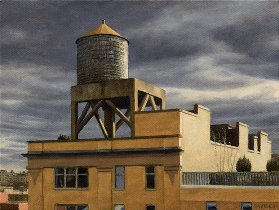 Discover Original Art by Nick Savides | Water Tower with Grey Skies oil painting | Art for Sale Online at UGallery