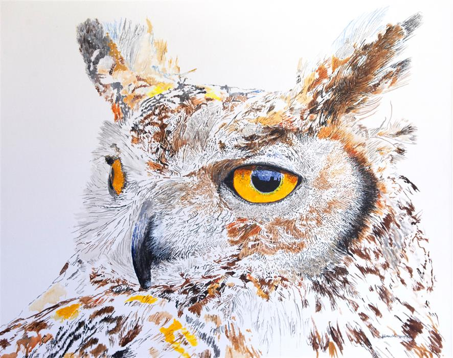 Discover Original Art by Emil Morhardt | Max the Great Horned Owl Hearing Hooting acrylic painting | Art for Sale Online at UGallery