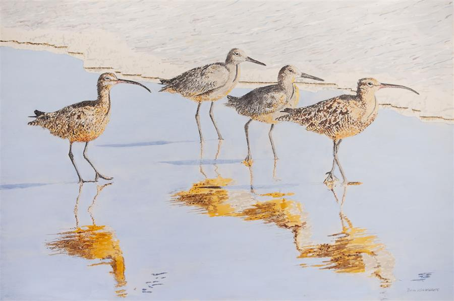 Discover Original Art by Emil Morhardt | A Sunny Afternoon with Whimbrels acrylic painting | Art for Sale Online at UGallery