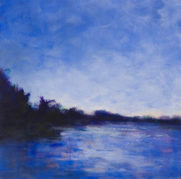 Discover Original Art by Victoria Veedell | Evening Blue oil painting | Art for Sale Online at UGallery