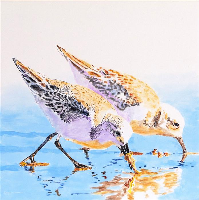 Discover Original Art by Emil Morhardt | Sanderlings into the Sand acrylic painting | Art for Sale Online at UGallery