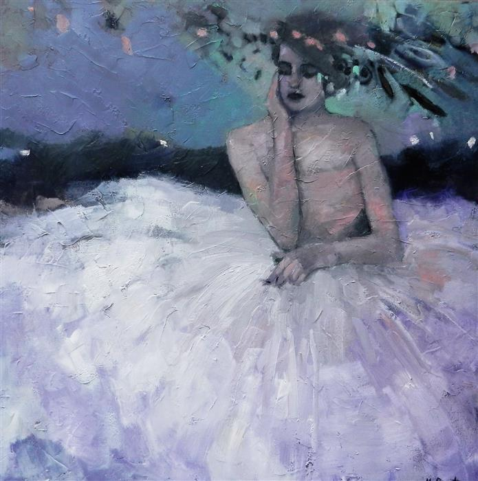 Discover Original Art by Mary Pratt | Dreaming in Crinoline oil painting | Art for Sale Online at UGallery