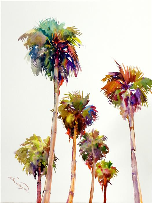 Discover Original Art by Suren Nersisyan | Palm Trees in Hollywood watercolor painting | Art for Sale Online at UGallery