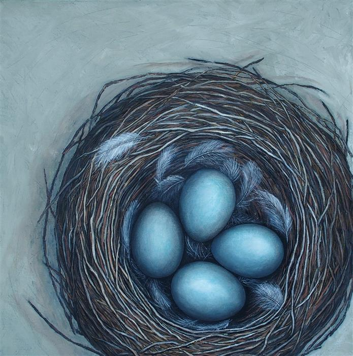 Discover Original Art by Jennifer Ross | How To Feather Your Nest oil painting | Art for Sale Online at UGallery