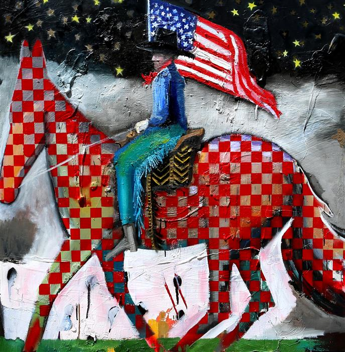 Discover Original Art by Scott Dykema | A Cowboy with Flag mixed media artwork | Art for Sale Online at UGallery