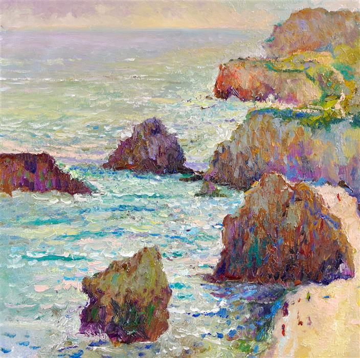 Discover Original Art by Suren Nersisyan | Pacific Coast in Malibu, Hazy Day oil painting | Art for Sale Online at UGallery
