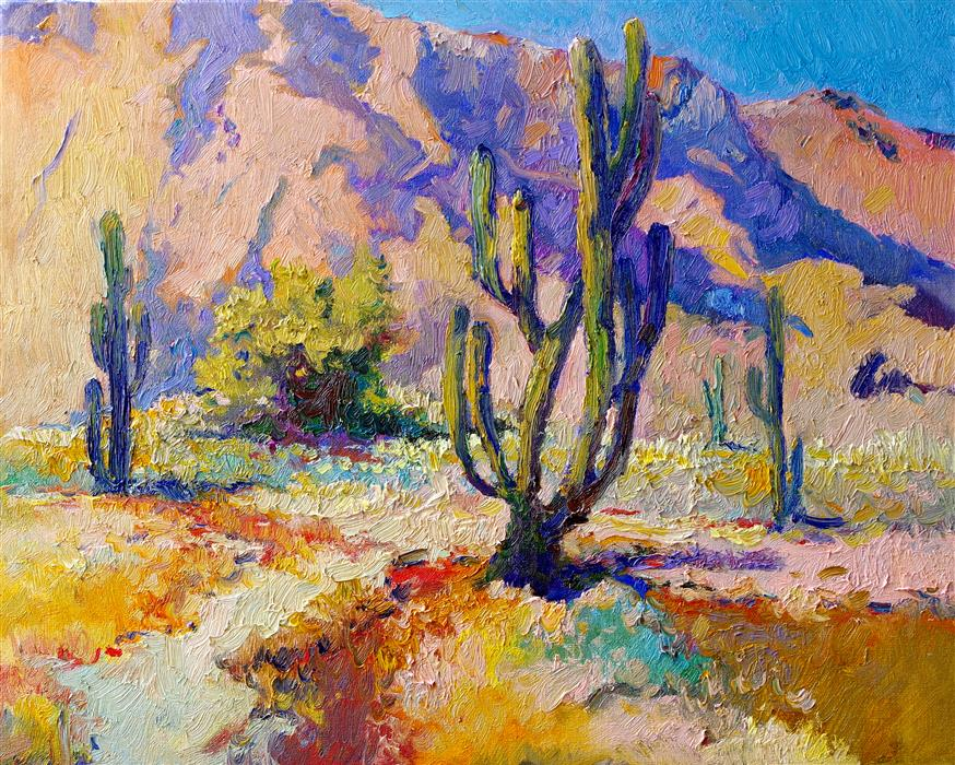 Discover Original Art by Suren Nersisyan | Landscape with Saguaro Cactus, Arizona Desert oil painting | Art for Sale Online at UGallery