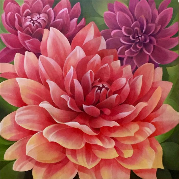 Discover Original Art by Johnny Karwan | Dahlia Dream acrylic painting | Art for Sale Online at UGallery