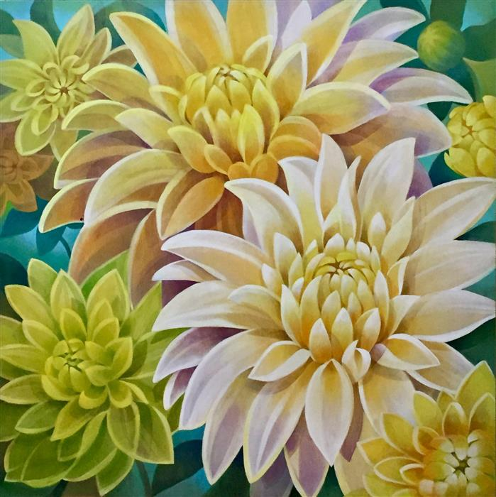 Discover Original Art by Johnny Karwan | Sunshine Bouquet acrylic painting | Art for Sale Online at UGallery
