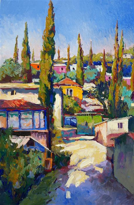 Discover Original Art by Suren Nersisyan | Mediterranean Landscape with Cypress Trees oil painting | Art for Sale Online at UGallery