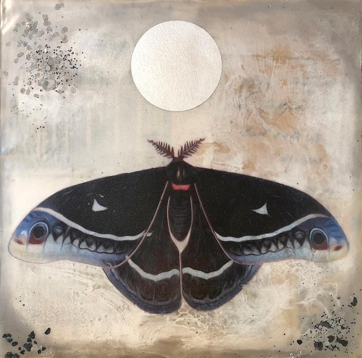 Discover Original Art by Shannon Amidon | Calleta Moth encaustic artwork | Art for Sale Online at UGallery