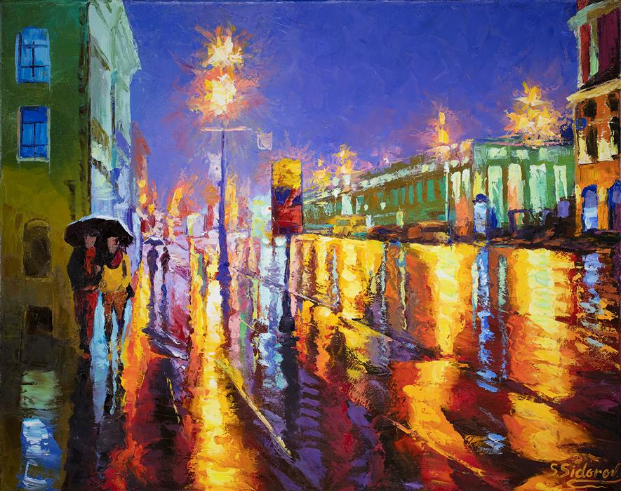 Discover Original Art by Stanislav Sidorov | Luminous Street. Night Lights in Madrid. oil painting | Art for Sale Online at UGallery