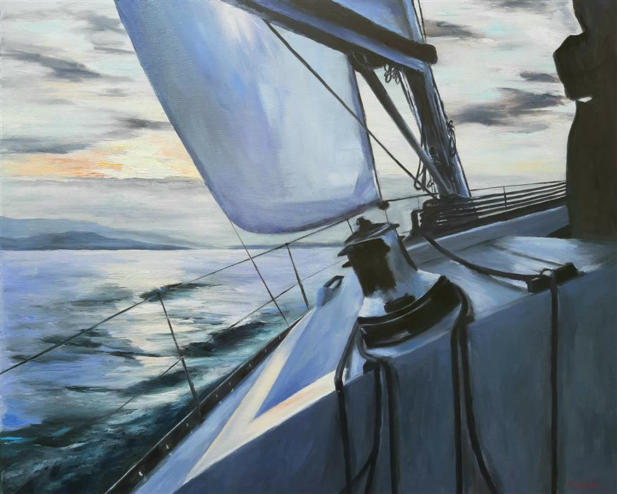 Discover Original Art by Sokratis Evgenidis | Sailboat, on the Sunset oil painting | Art for Sale Online at UGallery