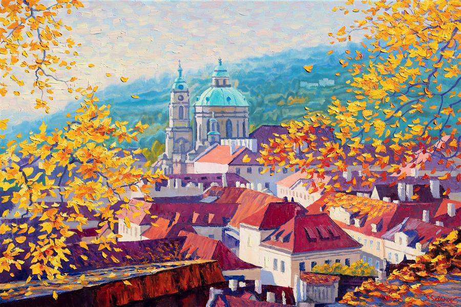 Discover Original Art by Stanislav Sidorov | Autumn Morning in Prague oil painting | Art for Sale Online at UGallery