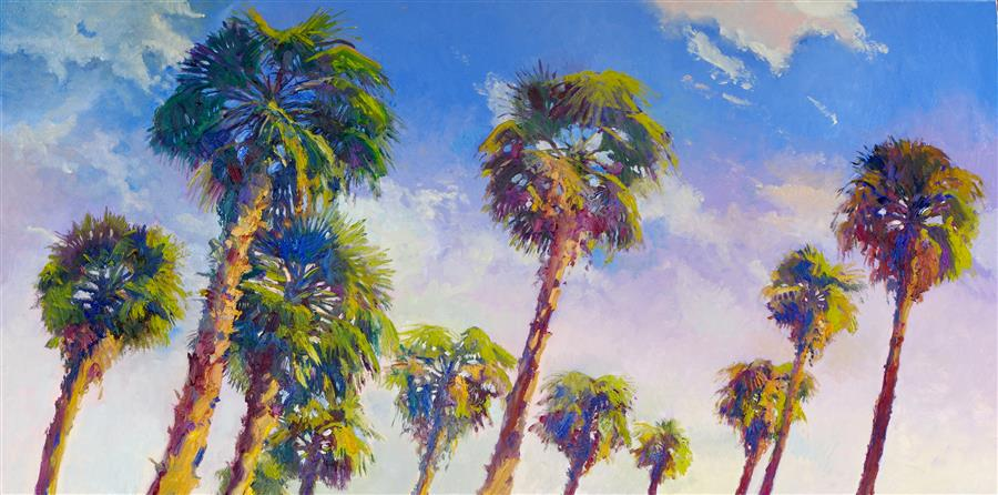 Discover Original Art by Suren Nersisyan | Palms in California oil painting | Art for Sale Online at UGallery