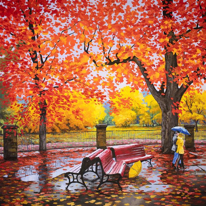 Discover Original Art by Stanislav Sidorov | Red and Yellow. Canadian Autumn. oil painting | Art for Sale Online at UGallery