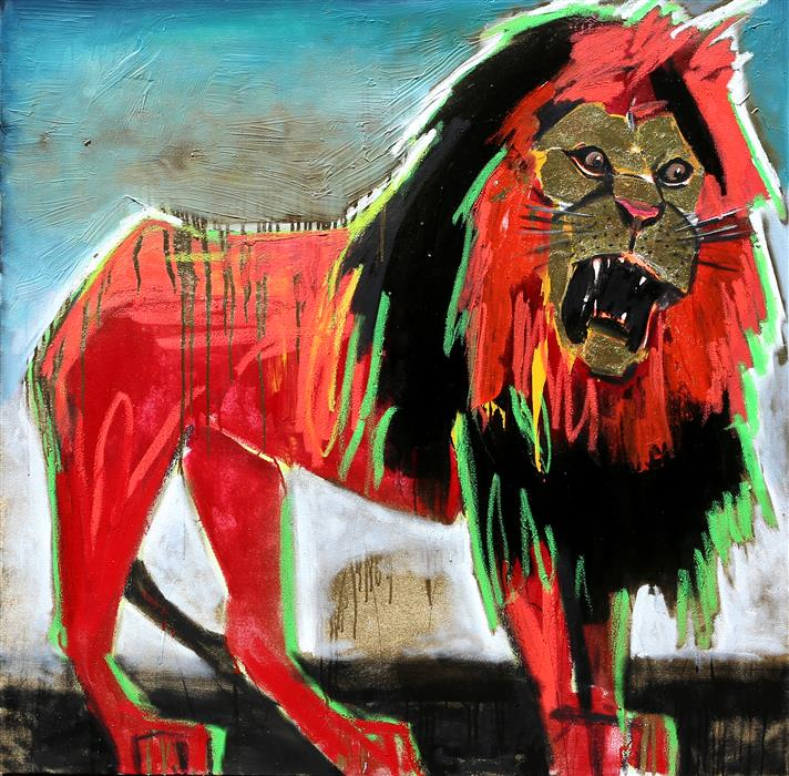 Discover Original Art by Scott Dykema | A Lion's Roar mixed media artwork | Art for Sale Online at UGallery