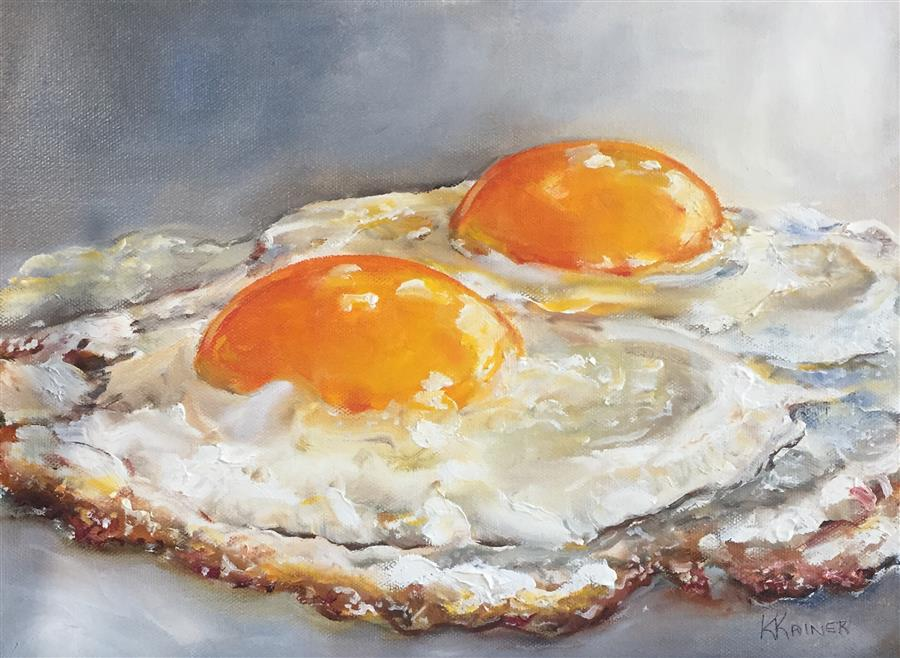Discover Original Art by Kristine Kainer | Fried Eggs oil painting | Art for Sale Online at UGallery