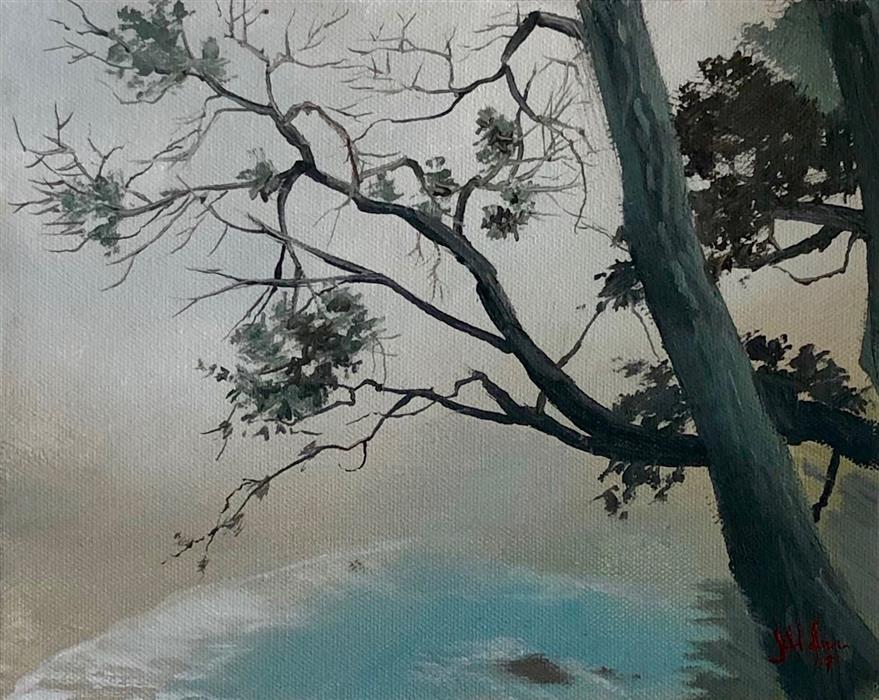 Discover Original Art by Jesse Aldana | Fog over the Falls oil painting | Art for Sale Online at UGallery