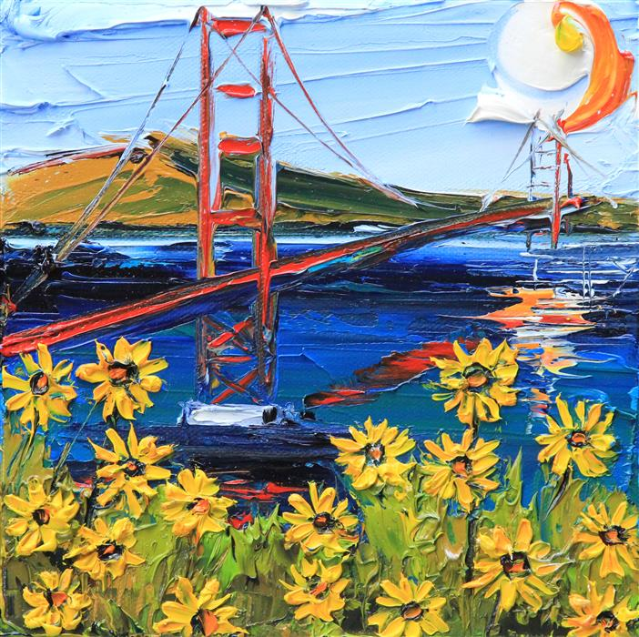 Discover Original Art by Lisa Elley | Van Gogh at the Golden Gate oil painting | Art for Sale Online at UGallery