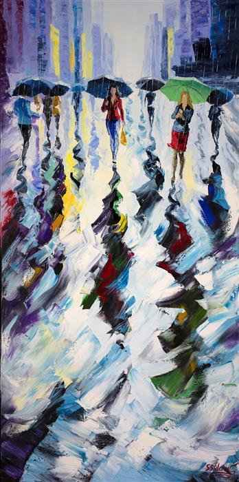 Discover Original Art by Stanislav Sidorov | Walking under the Rain oil painting | Art for Sale Online at UGallery