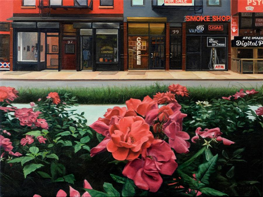 Discover Original Art by Nick Savides | Roses on Allen Street oil painting | Art for Sale Online at UGallery
