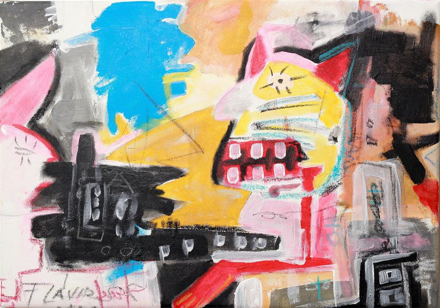 Discover Original Art by Flavio Man | Cat Driving a Bus mixed media artwork | Art for Sale Online at UGallery