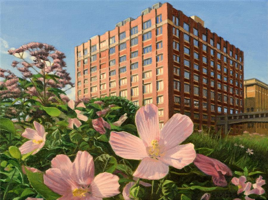 Discover Original Art by Nick Savides | High Line View with Swamp Rose Mallow oil painting | Art for Sale Online at UGallery