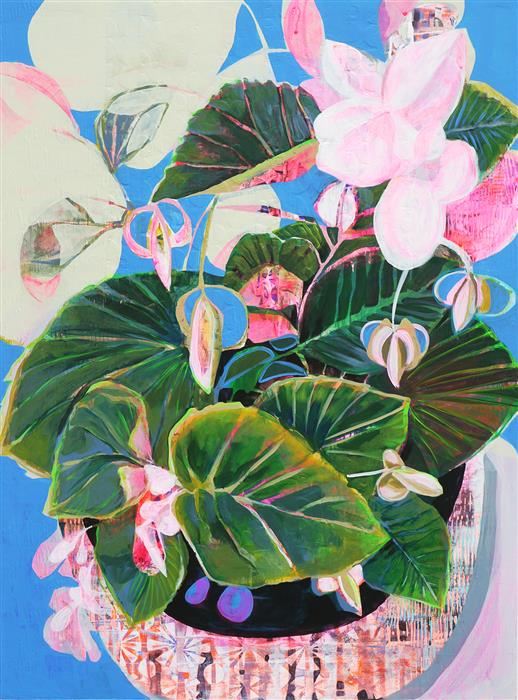 Discover Original Art by Manty Dey | Blue Begonia acrylic painting | Art for Sale Online at UGallery