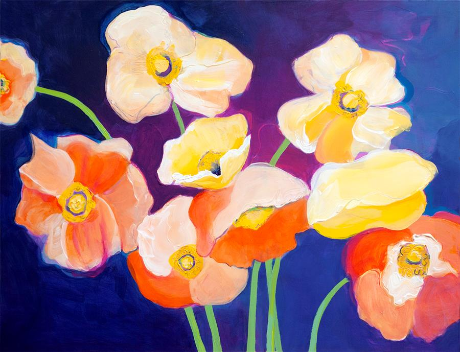 Discover Original Art by Ruth-Anne Siegel | Poppies at Dusk acrylic painting | Art for Sale Online at UGallery